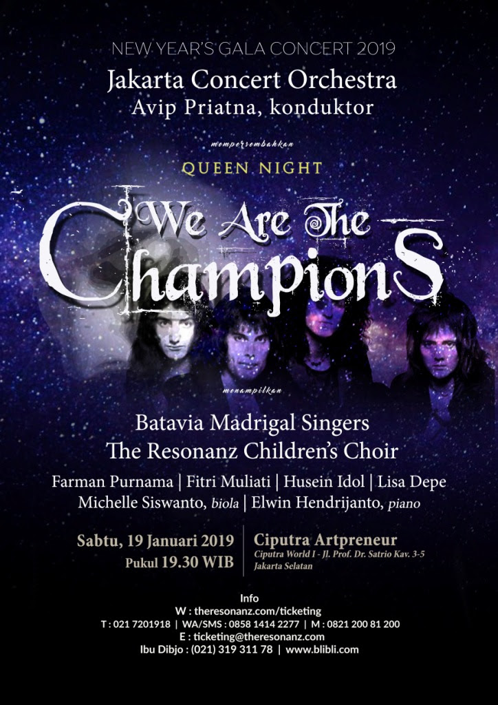 "Konser "" WE ARE THE CHAMPIONS "" - membawakan karya-karya group band Queen"